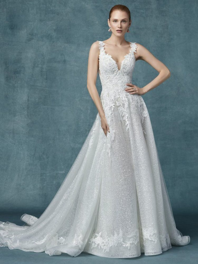 Lace Glitter A-line Wedding Dress by Maggie Sottero - Image 1