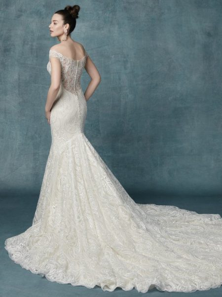 Off The Shoulder Lace And Sequin Fit And Flare Wedding Dress by Maggie Sottero - Image 2