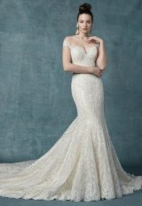 Off The Shoulder Lace And Sequin Fit And Flare Wedding Dress by Maggie Sottero - Image 1