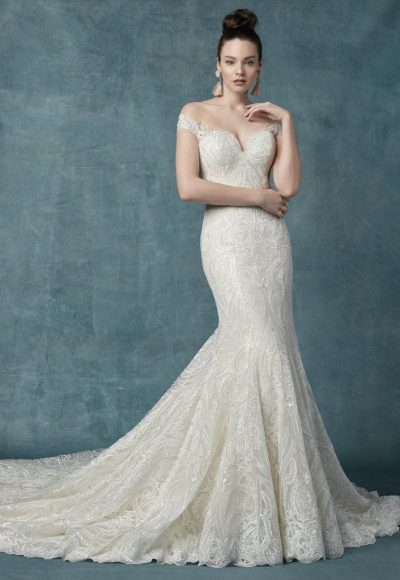 Off The Shoulder Lace And Sequin Fit And Flare Wedding Dress by Maggie Sottero