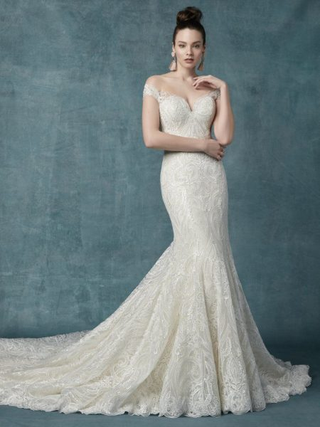 e703f4f9225 Off The Shoulder Lace And Sequin Fit And Flare Wedding Dress by Maggie  Sottero - Image