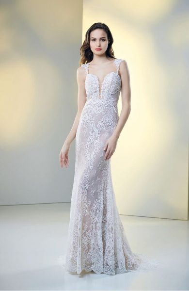 Fully Lace Deep Sweetheart Neckline Fit And Flare Wedding Dress by Maison Signore - Image 1