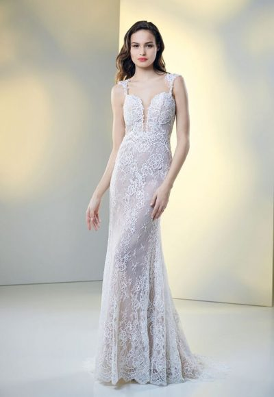 Fully Lace Deep Sweetheart Neckline Fit And Flare Wedding Dress by Maison Signore