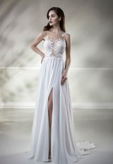 Illusion Lace Sleeveless A-line Wedding Dress by Maison Signore - Image 1