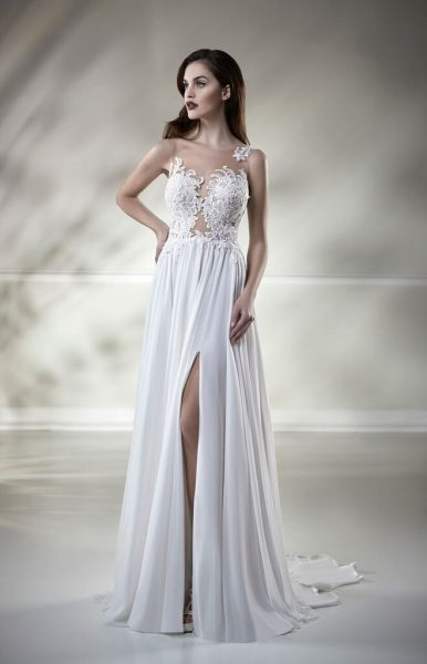 403a1c20b409 Illusion Lace Sleeveless A-line Wedding Dress by Maison Signore - Image 1