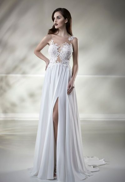 Illusion Lace Sleeveless A-line Wedding Dress by Maison Signore