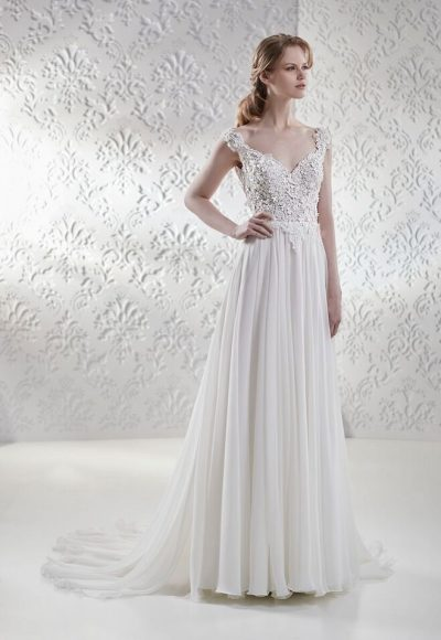 Lace Bodice Flowy Skirt A-line Wedding Dress by Maison Signore