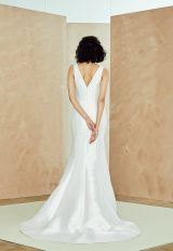 Sleeveless V-neck Silk Mikado Fit And Flare Wedding Dress by Nouvelle Amsale - Image 2