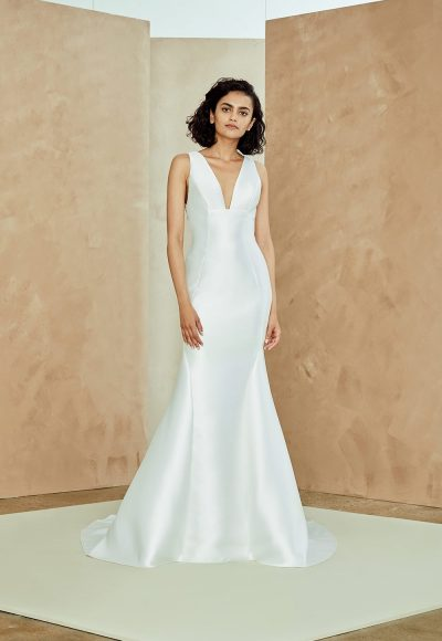 Sleeveless V-neck Silk Mikado Fit And Flare Wedding Dress by Nouvelle Amsale