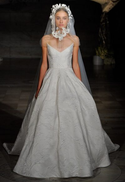 Floral Embroidered Ball Gown by Reem Acra