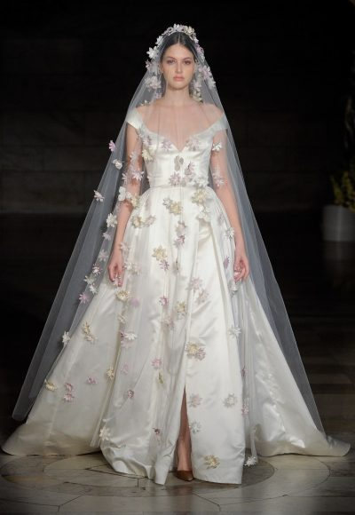 Silk Off The Shoulder Ball Gown Wedding Dress by Reem Acra
