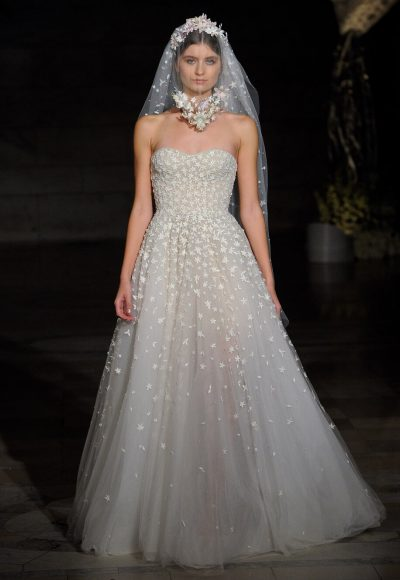 Strapless Floral Embroidered A-line Wedding Dress by Reem Acra