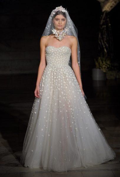 Strapless Floral Embroidered A-line Wedding Dress by Reem Acra - Image 1