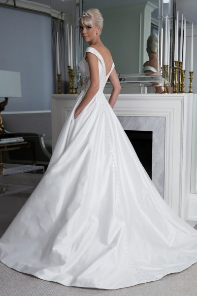 Off The Shoulder Silk A-line Wedding Dress by LEGENDS Romona Keveza - Image 2