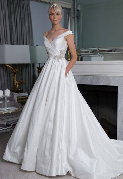 Off The Shoulder Silk A-line Wedding Dress by LEGENDS Romona Keveza