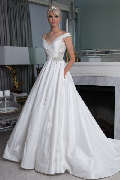 Off The Shoulder Silk A-line Wedding Dress by LEGENDS Romona Keveza - Image 1