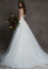 V-neck Lace Ball Gown Tulle Skirt Wedding Dress by ROMONA New York - Image 2
