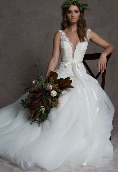 V-neck Lace Ball Gown Tulle Skirt Wedding Dress by ROMONA New York