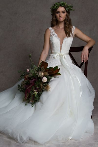 V-neck Lace Ball Gown Tulle Skirt Wedding Dress by ROMONA New York - Image 1