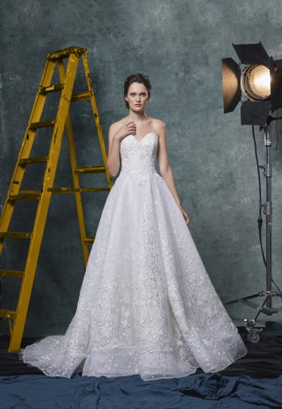 Sweetheart A-line Embroidered And Sequin Wedding Dress by Sareh Nouri