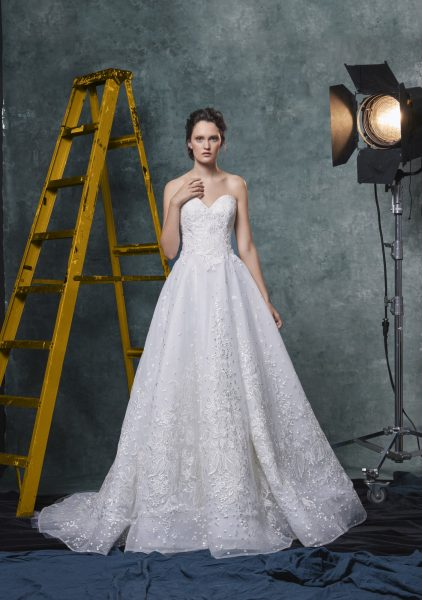 Sweetheart A-line Embroidered And Sequin Wedding Dress by Sareh Nouri - Image 1