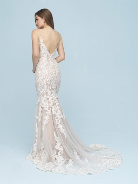 Beaded Lace Sleeveless Fit And Flare Wedding Dress by Allure Bridals - Image 2