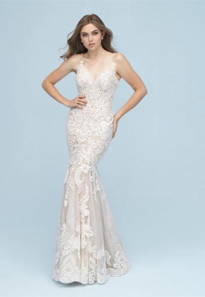 Beaded Lace Sleeveless Fit And Flare Wedding Dress by Allure Bridals
