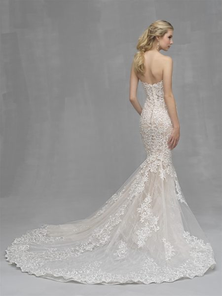 Mermaid Lace Embroidered Wedding Dress by Allure Bridals - Image 2