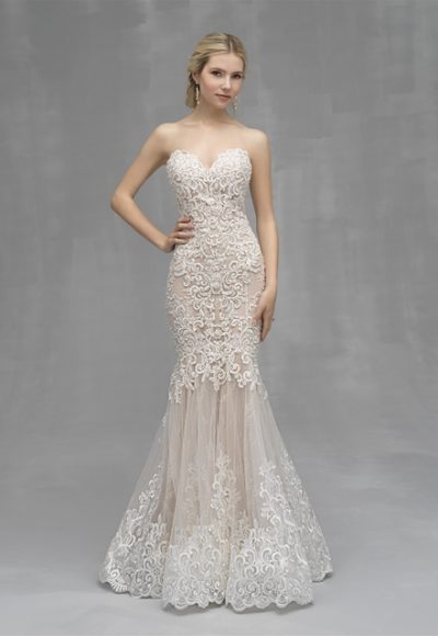 Mermaid Lace Embroidered Wedding Dress by Allure Bridals