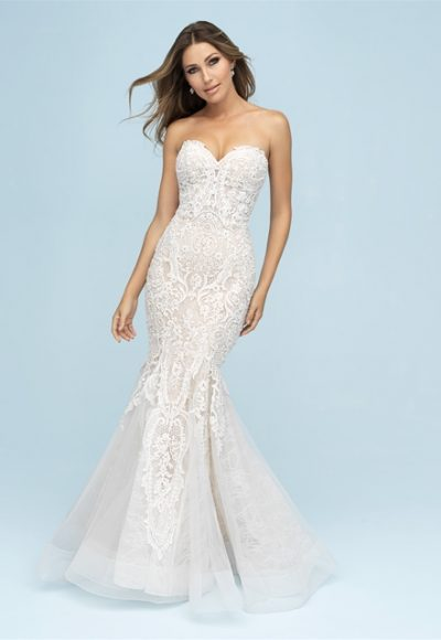 Sweetheart Neckline Strapless Fit And Flare Wedding Dress by Allure Bridals
