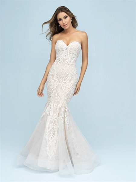Sweetheart Neckline Strapless Fit And Flare Wedding Dress by Allure Bridals - Image 1