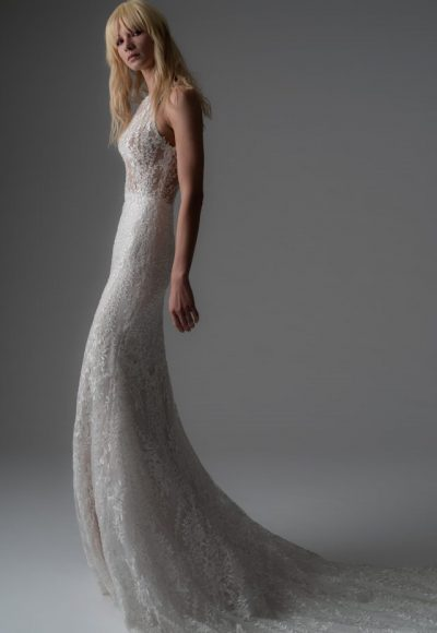 Beaded Lace Sheath Wedding Dress by Alyne by Rita Vinieris
