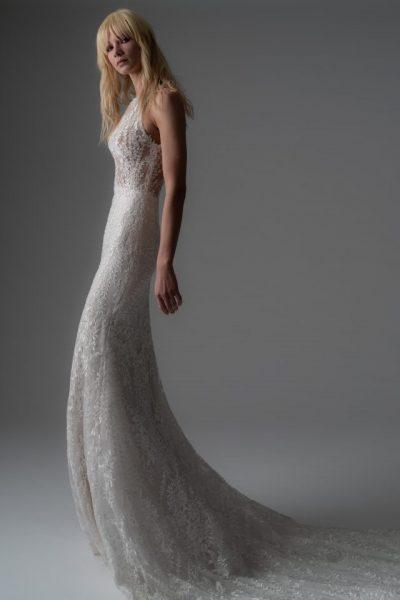 Beaded Lace Sheath Wedding Dress by Alyne by Rita Vinieris - Image 1