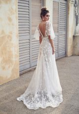 3D Floral Embroidered V-neck A-line Wedding Dress With Draped Sleeves by Anna Campbell - Image 2