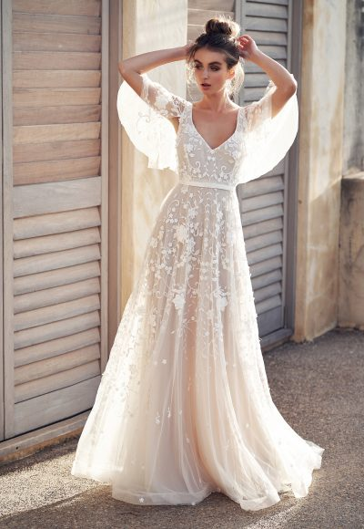 3D Floral Embroidered V-neck A-line Wedding Dress With Draped Sleeves by Anna Campbell