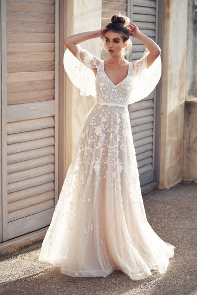 3D Floral Embroidered V-neck A-line Wedding Dress With Draped Sleeves by Anna Campbell - Image 1