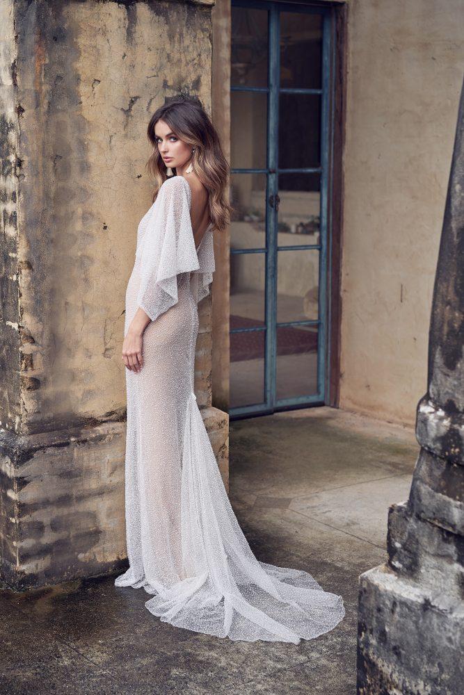 Hand Beaded V-neck Draped Sleeve Sheath Wedding Dress by Anna Campbell - Image 2