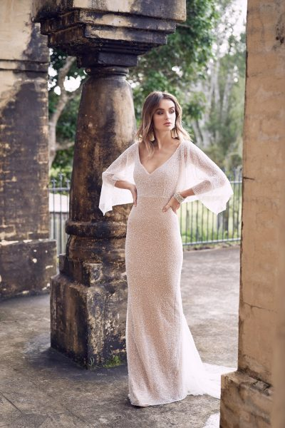Hand Beaded V-neck Draped Sleeve Sheath Wedding Dress by Anna Campbell - Image 1