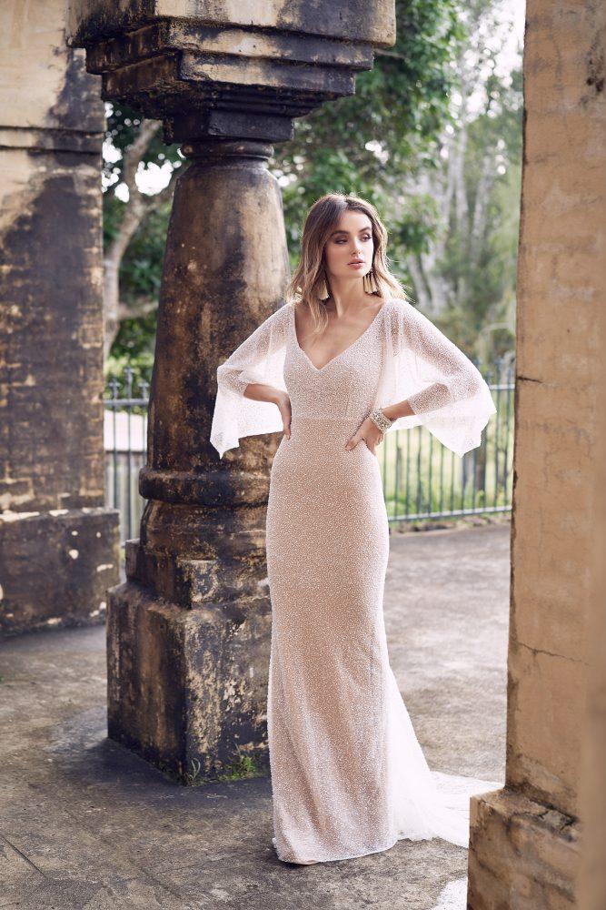 Hand Beaded V-neck Draped Sleeve Sheath Wedding Dress by Anna Campbell - Image 1