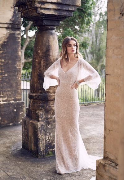 Hand Beaded V-neck Draped Sleeve Sheath Wedding Dress by Anna Campbell