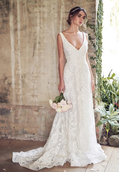 V-neck Allover Sequin Embroidered Corded Lace A-line Wedding Dress by Anna Campbell