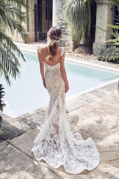 V-neck Allover Sequin Embroidered Corded Lace Fit And Flare Wedding Dress by Anna Campbell - Image 2