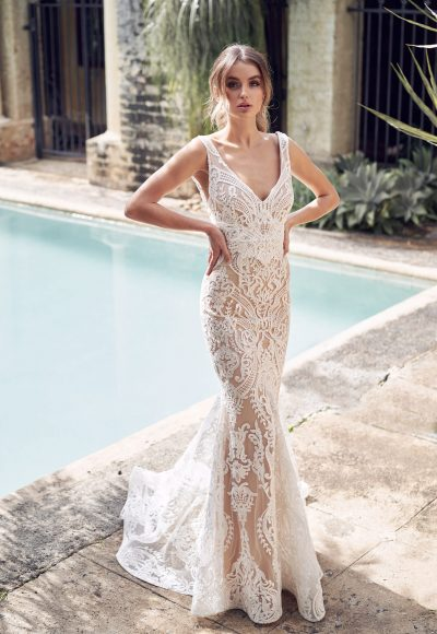 V-neck Allover Sequin Embroidered Corded Lace Fit And Flare Wedding Dress by Anna Campbell