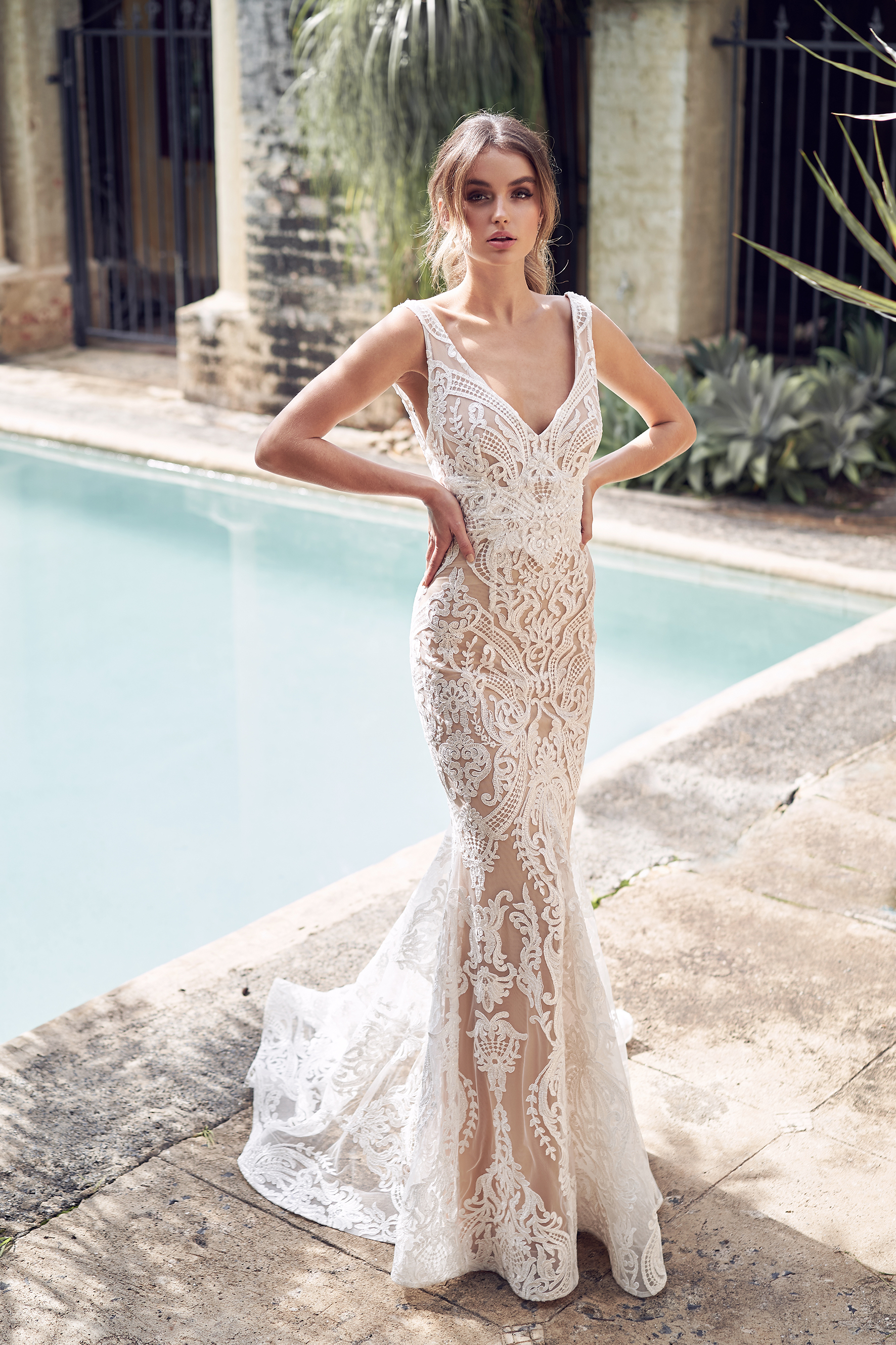 V Neck Allover Sequin Embroidered Corded Lace Fit And Flare Wedding Dress