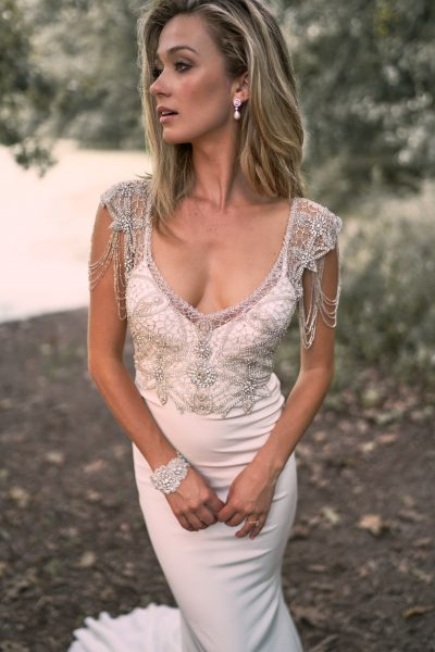 V-neck Crepe Sheath Wedding Dress With Beaded Bodice And Cap Sleeves by Anna Campbell - Image 2