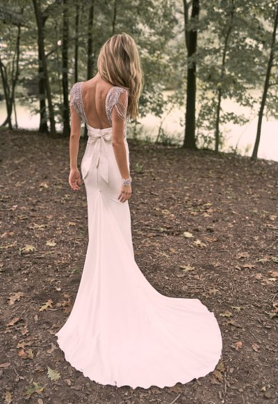 V-neck Crepe Sheath Wedding Dress With Beaded Bodice And Cap Sleeves by Anna Campbell