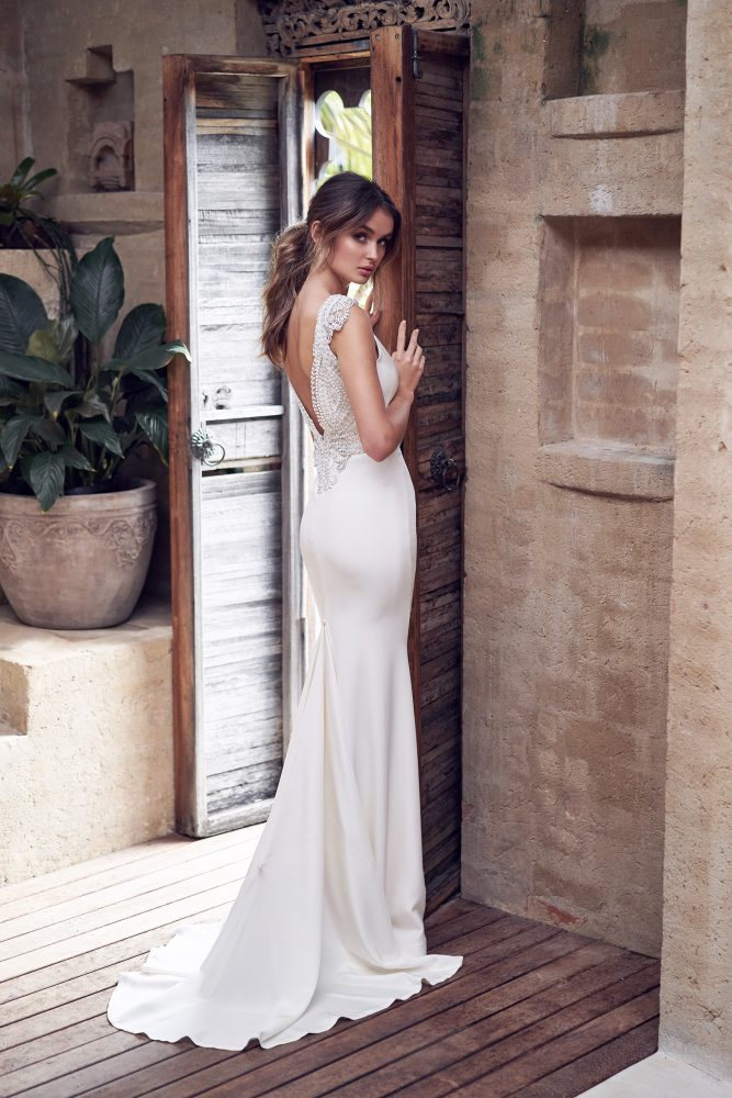 V-neck Crepe Sheath Wedding Dress With Beading At Waist by Anna Campbell - Image 2