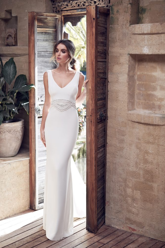V-neck Crepe Sheath Wedding Dress With Beading At Waist by Anna Campbell - Image 1