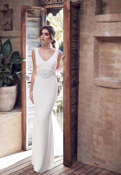 V-neck Crepe Sheath Wedding Dress With Beading At Waist by Anna Campbell