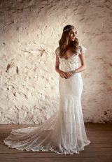 V-neck Fringed Lace Cap Sleeve Sheath Wedding Dress With Bow by Anna Campbell - Image 1